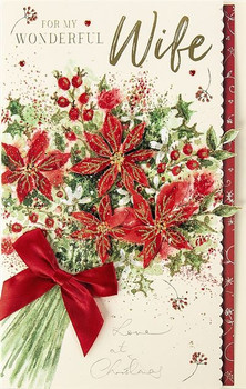 3D Handmade Red Xmas Flowers Wife Large Christmas Card