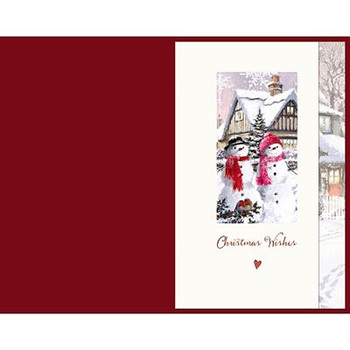 Husband Snow Couple Red Bow Die Cut Large Christmas Card