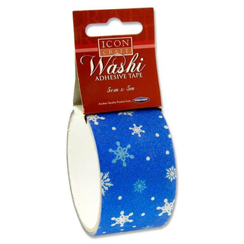 5m x 5cm Blue Snowflakes Design Washi Tape by Icon Craft