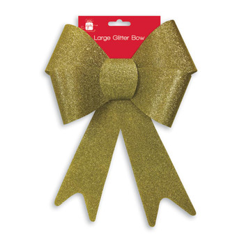 Large Gold Glitter Christmas Bow