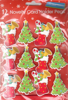 12 LARGE NOVELTY CHRISTMAS CARD HOLDER PEGS - 8698