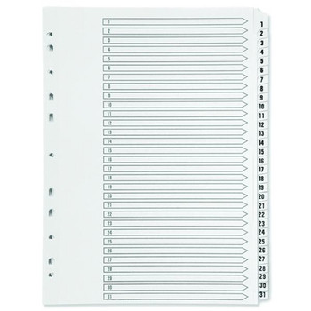 A4 White Plastic 31 Part Tabbed File Index Dividers for ring binders/lever arch