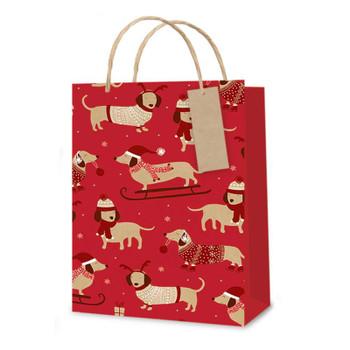 Red Daschunds Design Medium Christmas Gift Bag