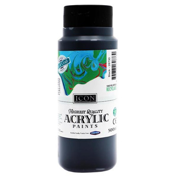Black Acrylic Paint 500ml by Icon Art