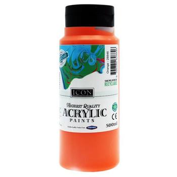 Orange Acrylic Paint 500ml by Icon Art