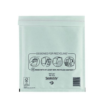 Pack of 100 Mail Lite Bubble Lined 220x260mm White Postal Bags