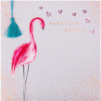 Birthday Card for Auntie Embossed and Die-cut Flamingo Design