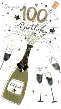 100th Birthday Greeting Card Hand-Finished Champagne Range Cards