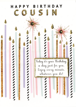 Happy Birthday Cousin Greeting Card with Candles
