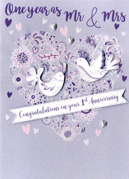 Congratulations On Your 1st Anniversary Greeting Card Second Nature Just To Say Cards