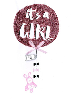 It's A Girl New Baby Greeting Card Bear With Balloon