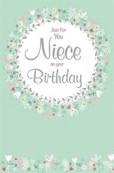 Pretty Flowers Circle Niece Birthday Card