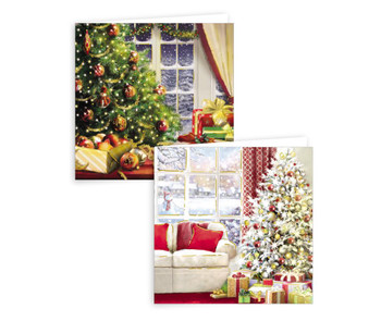 Pack of 10 Indoor Christmas Scene Design Square Cards