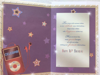 16th Birthday Card White Envelope ipod Headphones and Stars Theme