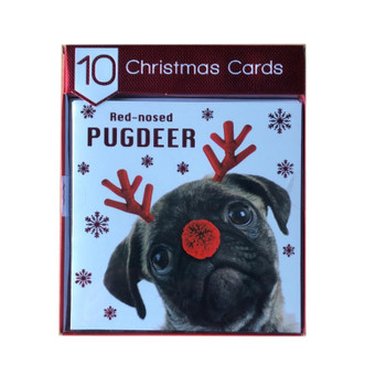 Pack of 12 Square Photograph Red Nosed Pugdeer Design Christmas Cards