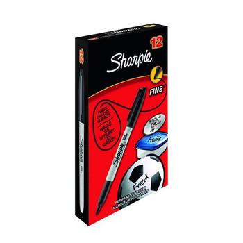Pack of 12 Black Sharpie Fine Permanent Marker Pens