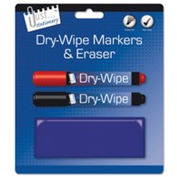 Just Stationery Whiteboard Marker and Eraser (Pack of 2)