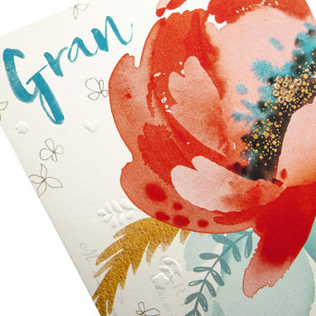 Birthday Card for Gran Embossed Floral Design