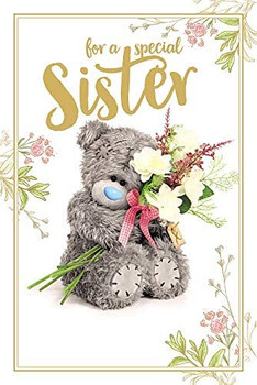 3D Holographic Hologram Sister Birthday Card with Bear Sitting With Bouquet