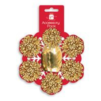 Pack of 7 Pieces Christmas Gold Bows and Cop Set