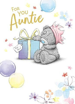 Auntie Birthday Card With Bear Sitting With Gift