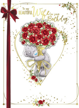 Beautiful Wife Birthday Bear With Roses Boxed Large Greeting Card