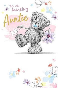 Auntie Birthday Card Bear Holding Flower