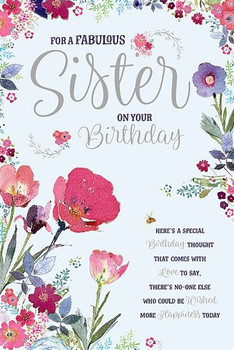 Pretty Flowers Sister Birthday Card