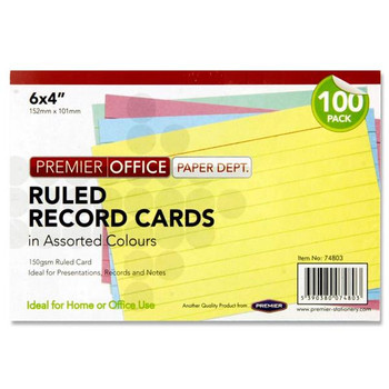 """Pack of 100 6"""" x 4"""" Ruled Record Assorted Colour Cards by Premier Office"""