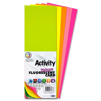 "4"" x 12"" 150gsm 50 Sheets Fluorescent Card by Premier Activity"