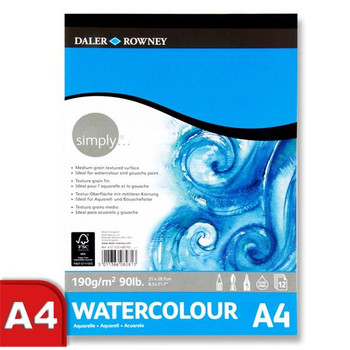 A4 190gsm 12 Sheets Watercolour Pad by Daler Rowney