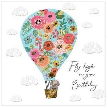 Pretty Floral Hot Air Balloon Female Birthday Card