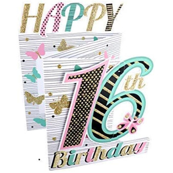 3D Cutting Edge Greeting Card for a 16th Girl Birthday Card