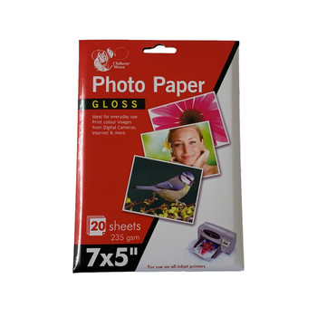 """Pack of 20 Sheets 7 x 5"""" Glossy Photo Paper by Chiltern Wove"""