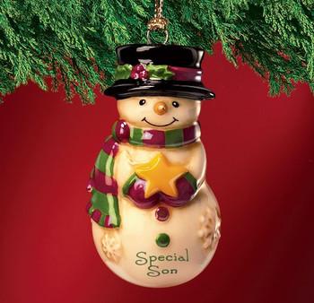 Mini Ceramic Personalized Snowman Ornament-Special Son