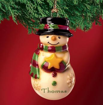 Mini Ceramic Personalized Snowman Ornament-Thomas