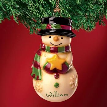 Mini Ceramic Personalized Snowman Ornament-William
