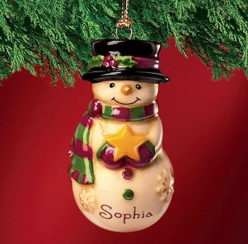 Personalised Snow man - christmas decoration - Gift ornament - Sophie
