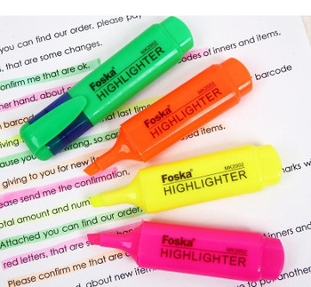Pack of 10 Pink Coloured Highlighter Pens - Chisel Tip