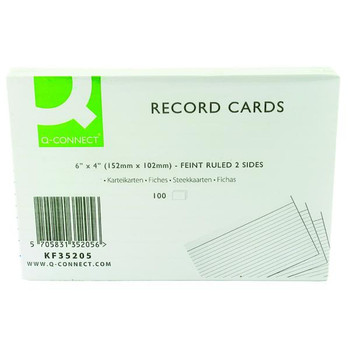 Pack of 100 White 152x102mm Ruled Feint Flash Revision Report Record Cards