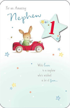 Nephew Birthday Card Attach with Personalised Age (1, 2, 3) Rabbit Driving Car with Silver Foil Finish