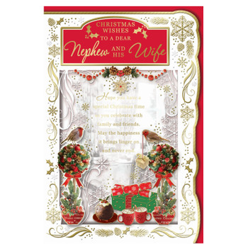 To a Dear Nephew and His Wife Best Wishes Classic Design Christmas Card