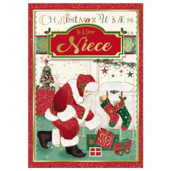 To a Dear Niece Glitter Finished Santa Design Christmas Card
