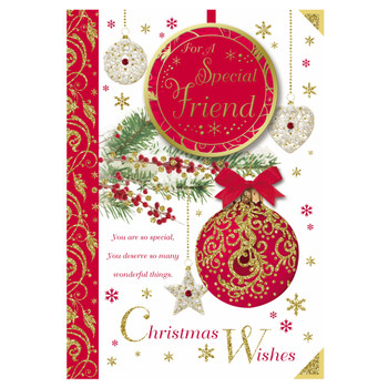 For a Special Friend Hanging Decorative Baubles Design Christmas Card