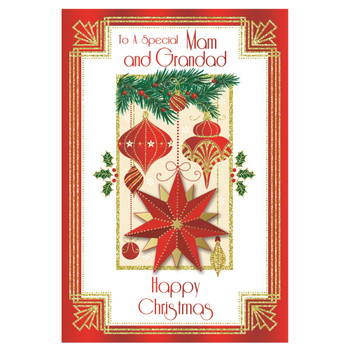 To a Special Mam and Grandad Baubles and Star Design Christmas Card
