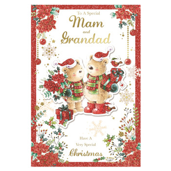 To a Special Mam and Grandad Lovely Teddies With Flowers and Gifts Design Christmas Card