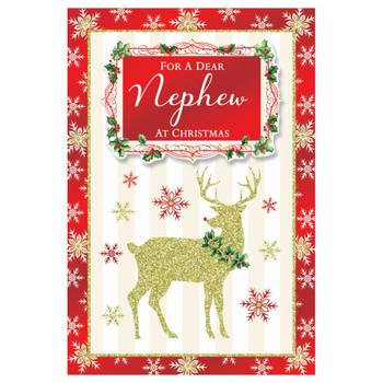 For a Dear Nephew Raindeer Design Christmas Card