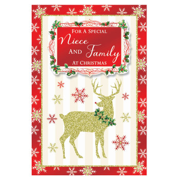 For a Special Niece and Family Raindeer Design Christmas Card