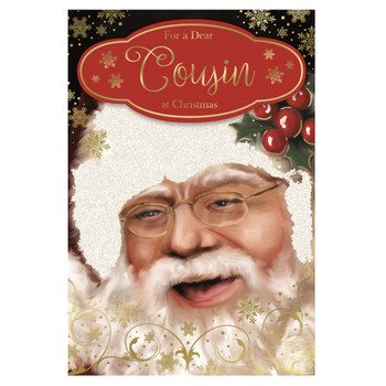 For a Dear Cousin Glitter Finished Laughing Santa Design Christmas Card