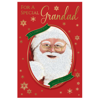 For a Special Grandad Glitter Finished Santa Design Christmas Card